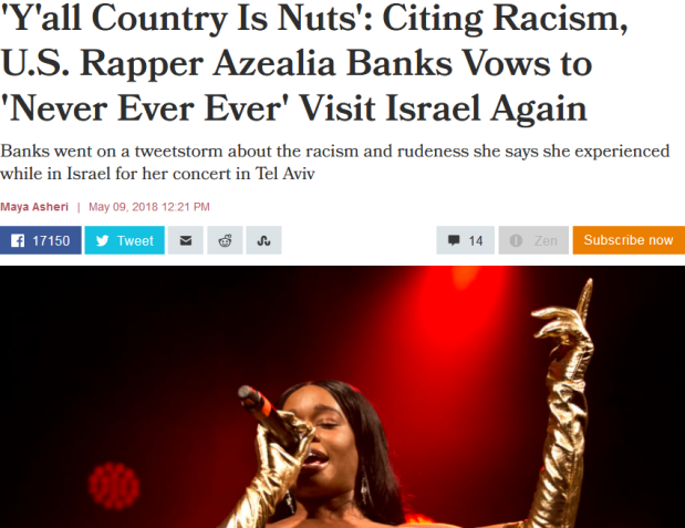 Screenshot-2018-5-19 'Y'all country is nuts' Citing racism, U S rapper Azealia Banks vows to 'never ever ever' visit Israel[...]