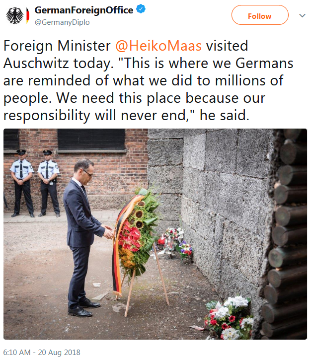 Screenshot_2018-08-20 GermanForeignOffice on Twitter Foreign Minister HeikoMaas visited Auschwitz today This is where we Ge[...]